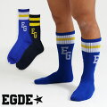 EGDE←ラインクルーソックス2PAIRSセットBlue&Navy