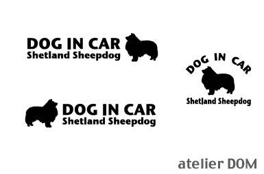 [犬のステッカー]『DOG STICKER』ドッグステッカー『DOG IN CAR』シェットランドシープドッグ3枚組