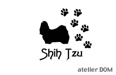 [犬のステッカー]『DOG STICKER』肉球いっぱいドッグステッカーシーズー(Lサイズ)