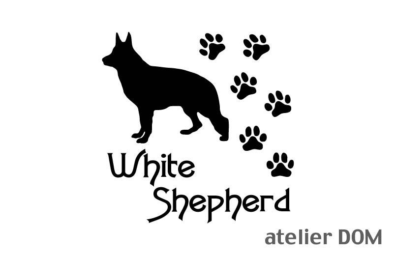 [犬のステッカー]『DOG STICKER』 肉球いっぱいドッグステッカーホワイトシェパード(Sサイズ)