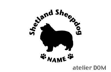 [犬のステッカー]『DOG STICKER』名前入りドッグステッカーシェットランドシープドッグ (Lサイズ)