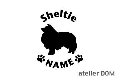 [犬のステッカー]『DOG STICKER』名前入りドッグステッカーシェルティー (Lサイズ)