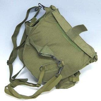 全新 ◆ 真正的軍事尼龍肩背包防毒面具橄欖 deadstock ♪ 軍事亦部隊戶外登山背包包