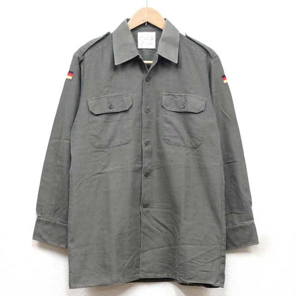 【中古】◆実物 ドイツ軍 国旗ワッペン付き フィールドシャツ オリーブ♪ミリタリー 長袖 ワーク 軍物 サバゲ