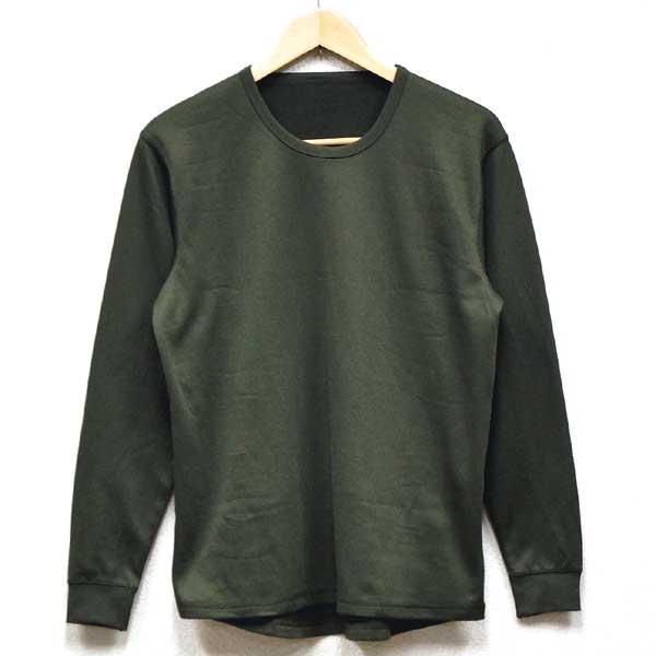 中古◆実物 イギリス軍 高機能繊維ポリエステル製 アンダーシャツ オリーブ♪ミリタリー 長袖Tシャツ アンダーウェア インナー