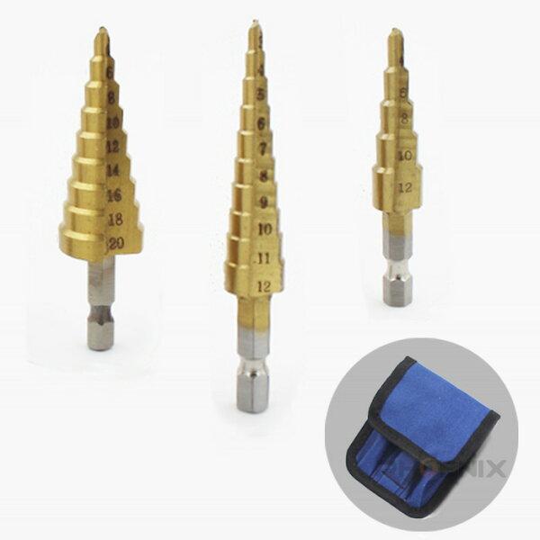 タケノコドリルHSS鋼チタンコーティング3本セットケース付3~12mm4~20mmステップドリルビットインパクトドライバー六角軸