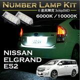 日産 エルグランドE52系専用LEDナンバー灯ユニット2個1セット3色選択可!高輝度3チップLED【C】