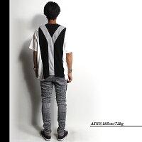 【SALE】DEMILY(デミリー) NYパイル切り替えTシャツ メンズ 半袖Tシャツ  ニューヨーク バイカラー クルーネック ブラック系 WHT/GRY/BLK M/Lサイズ 【あす楽】【ネコポス対応】
