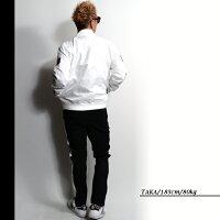 【均一SALE】DEMILY(デミリー)ストレートカットポンチラインパンツメンズサイドラインジャージパンツストレッチウエストゴムブラック×ホワイトSIZE46/48【あす楽】