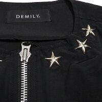【ラスイチ】【SALE】DEMILY(デミリー) 「BIG STAR」スタッズノーカラーMA-1【全2色:ブラック/カーキ】【スタースタッズ】【フライトジャケット】【ノーカラージャケット】【ジャンバー/ブルゾン】【M/Lサイズ】【メンズ】【あす楽】