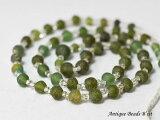 【1805】古代ローマングラス緑色丸型小粒ビーズ一連15