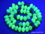 アンティークボヘミアウランガラス緑色算盤型,とんぼ玉,アンティークビーズ