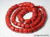 【1905】真紅の山珊瑚筒型ビーズ一連3