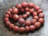 【1801】ジャワ島出土発掘赤褐色の丸玉一連5,とんぼ玉,アンティークビーズ