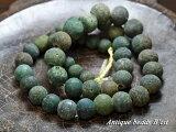 ジャワ島出土インドパシフィック濃緑色発掘玉一連B1,とんぼ玉,アンティークビーズ