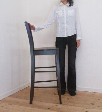 こげ茶色の木製カウンターチェア座面高76cmシンプルで安いカンター椅子