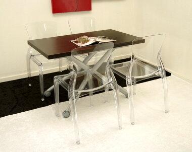 シャープなダークブラウンのデザイナーズテーブルチェアセット