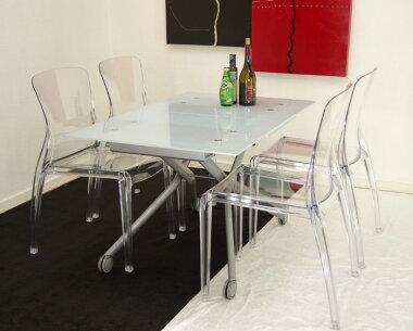 お得なイタリア製ガラスダイニングテーブル5点セット