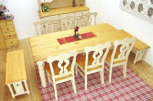 大型ダイニングセット フレンチカントリー 無垢木製 ダイニングテーブルセット ミルキーホワイト色 mwdt19bj_lac6_100ben2 パイン ダイニングテーブルセット 190cm ワイドテーブル ナチュラル カン