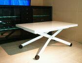 【イタリア製白い伸長式リフティングテーブルEsprit-WH(ホワイト色)キャスターブラック】昇降する伸長式テーブルイタリア製/ダイニング&リビングテーブル/天板高さ36〜82cmに昇降するテーブル、即日出荷可能