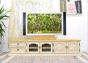 フレンチカントリー ローボード テレビボード 180cm幅 白いカントリー調 無垢木製のテレビ台 リング取手 高さ40cmのテレビボード カントリーテイストの可愛いテレビボード