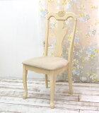 【木製チェア/クイーンアン チェア/アンティークホワイト色】ダイニングチェア/軽い食堂椅子/エイジング塗装/アンティーク塗装、白いクラッシック猫脚イス