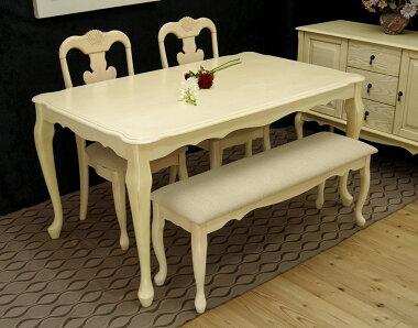 クイーンアン様式の食卓テーブル4点セット