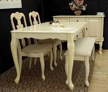 クイーンアン【ラバーウッド製テーブル150cm幅チェアとベンチセットアンティークアイボリー色】テーブル4点セット、店舗用商品陳列用テーブル、テーブルとチェア2脚ベンチ1台セット