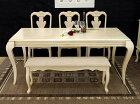 クイーンアン様式のアンティークホワイト大型食卓テーブル5点セット