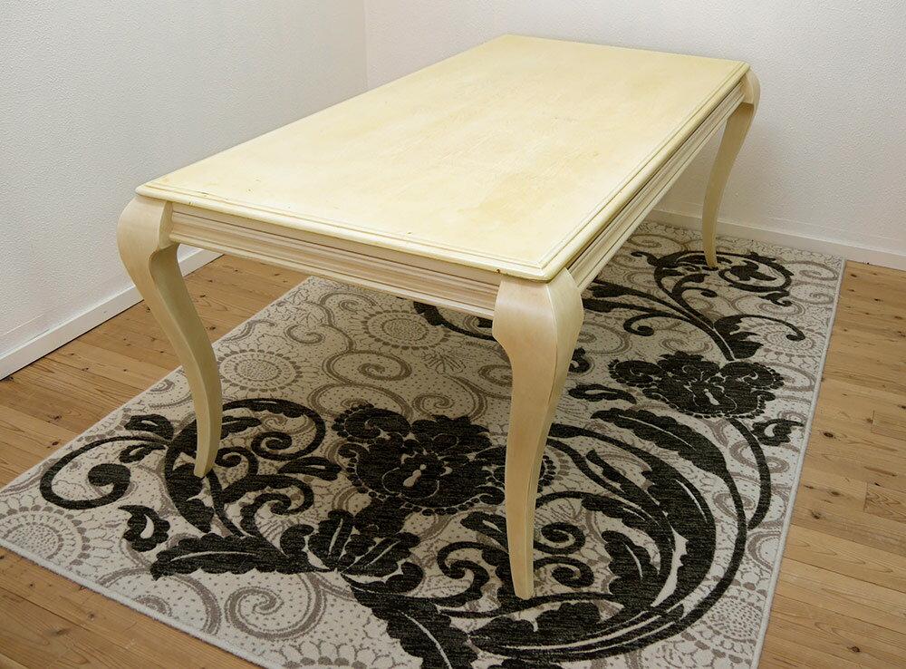 クイーンアン【木製テーブル180cm幅 アンティークホワイト色】テーブル単品、店舗用商品陳列用テーブル、大型テーブル:BANJO