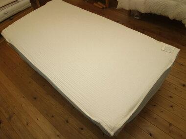 【快眠寝具/オーガニックコットン4層ベッドパッド/シングル用】シングルベッドマット用パッド/無漂白、無着色