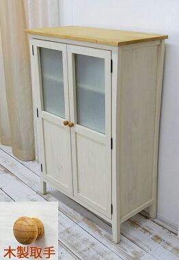 フレンチカントリーキャビネット,無垢木製の扉付き収納棚