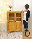 カントリー調無垢材の木製キャビネット,ガラス扉のコンパクトな本棚,食器棚