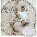 ベビーマットサニーマットフリル無地北欧おしゃれラグ丸型円形低反発洗えるオールシーズンリビング床赤ちゃんプレイマット