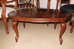 ロココ調猫脚センターテーブルアンティーク調イタリア製リビングテーブル