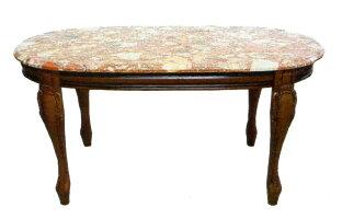 アンティーク調テーブルクラシック家具ロココネコ脚センターテーブル/リビングテーブル大理石天板マーブルトップレッド