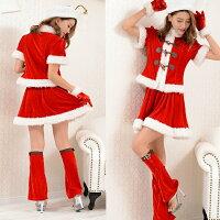 予約販売サンタコス大きいサイズサンタコスプレ/サンタクロース衣装/ダッフル2ピースサンタ衣装/サンタクロース/クリスマス衣装/さんた上下セット/レディースサンタコスプレ/ワンピースサンタA2