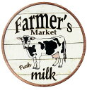 乳牛★ミルク・FARMERS MARKET・ラウンド(円形)★アメリカンブリキ看板★アメリカン雑貨 アメリカ 雑貨 サインプレート サインボード…