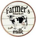 乳牛★ミルク・FARMERSMARKET・ラウンド(円形)★アメリカンブリキ看板★アメリカン雑貨アメリカ雑貨サインプレートサインボードティンサインメタルプレート動物インテリアブリキ看板