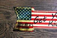ルート66★星条旗カラー・アローカット(矢印型)・レトロ調★アメリカンブリキ看板★アメリカン雑貨アメリカ雑貨サインプレートサインボードティンサインメタルプレートインテリアブリキポスター看板
