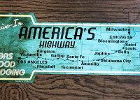 ルート66★マップ柄・ドライブイン・アローカット(矢印型)★アメリカンブリキ看板★アメリカン雑貨アメリカ雑貨サインプレートサインボードティンサインメタルプレートガレージインテリアブリキポスター看板