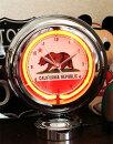【送料無料】カリフォルニア★テーブルネオンクロック・置時計・ガソライト型★絵になるインテリア時計♪★カリフォルニアベアフラッグ柄アメリカン雑貨アメリカ雑貨時計置き物ネオンサインおしゃれカフェバー店舗ガレージインテリア