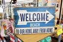 ビーチ★WELCOME BEACH・レトロ調・木製看板・木製プレート★木製ボード アメリカン雑貨 アメリカ雑貨 アメリカ 雑貨 おしゃれ カフェ …