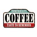 コーヒーPREMIUMQUALITYエンボス加工レトロ調金属製壁飾りメタルプレートアメリカン雑貨アメリカ雑貨サインプレートサインボードメタルプレートブリキ看板おしゃれ店舗カフェバーサーフィンインテリアガレージポスター