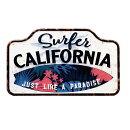 サーファーカリフォルニアエンボス加工レトロ調金属製壁飾りメタルプレートアメリカン雑貨アメリカ雑貨サインプレートサインボードメタルプレートブリキ看板おしゃれ店舗カフェバーサーフィンインテリアガレージポスター