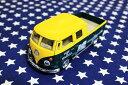 ワーゲンバス ミニカー プルバックカー 63年式 ダブルキャブ 商用車 Bus Double Cab Pickup イエロー×グリーン アメリカ 雑貨 クルマ 模型 フォルクスワーゲン 置き物 玩具 ガレージ 店舗 カフェ バー インテリア ミニカー