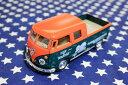 ワーゲンバス ミニカー プルバックカー 63年式 ダブルキャブ 商用車 Bus Double Cab Pickup オレンジ×グリーン アメリカ 雑貨 クルマ 模型 フォルクスワーゲン 置き物 玩具 ガレージ 店舗 カフェ バー インテリア ミニカー