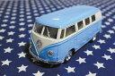 ワーゲンバス ミニカー プルバックカー 62年式 ブルー アメリカ 雑貨 クルマ 模型 フォルクスワーゲン 置き物 玩具 ガレージ 店舗 カフェ インテリア ミニカー