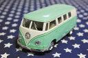 ワーゲンバス ミニカー プルバックカー 62年式 グリーン アメリカ 雑貨 クルマ 模型 フォルクスワーゲン 置き物 玩具 ガレージ 店舗 カフェ インテリア ミニカー