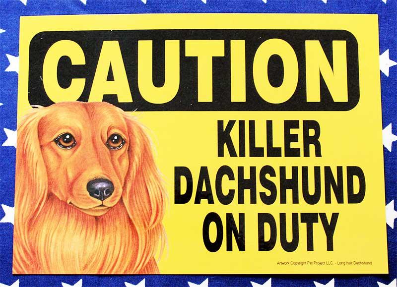 ダックスフンド 雑貨 プラスチックプレート 003 KILLER DACHSHUND ON DUTY 賢いダックスフンドが守っています  ダックスフント グッズ アメリカ製 アメリカ直輸入品 ペット 犬 雑貨
